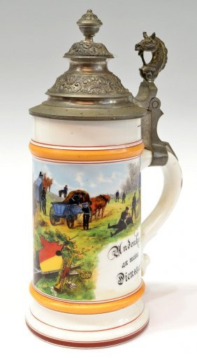 ANTIQUE GERMAN REGIMENTAL LITHOPHANE BEER STEIN