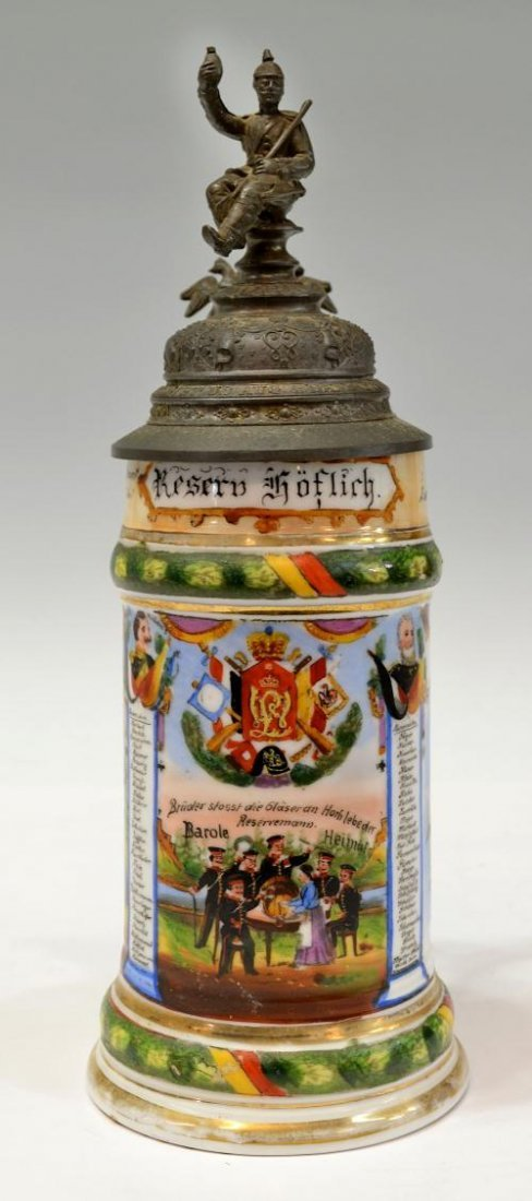 59: ANTIQUE GERMAN REGIMENTAL LITHOPHANE BEER STEIN