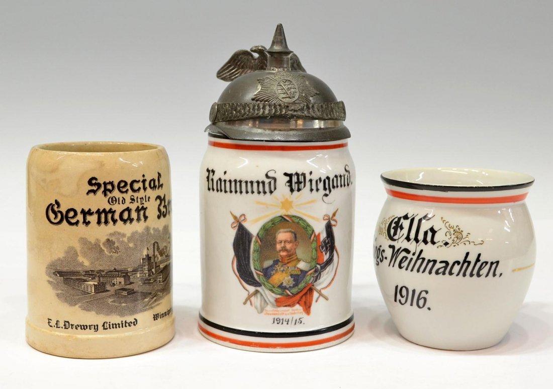 60: (3) ANTIQUE GERMAN VESSELS, PICKELHAUBE LITHOPHANE