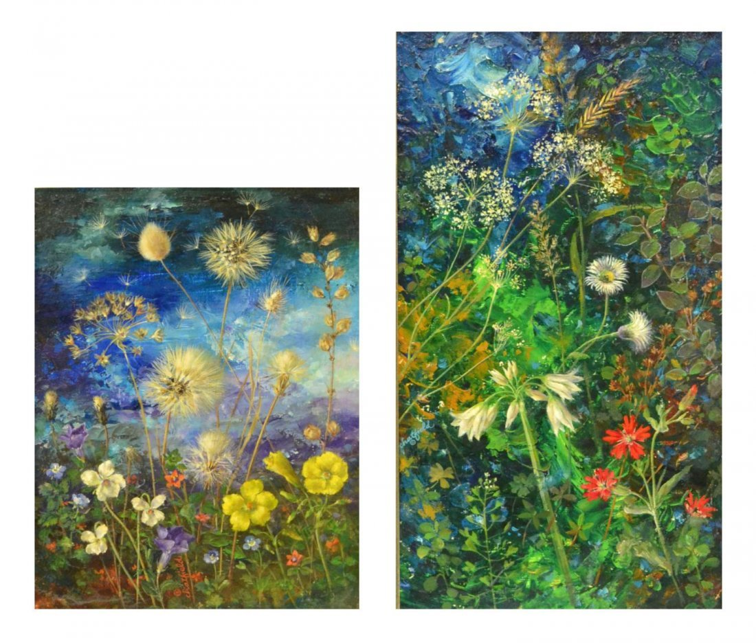 69: (2) FLORAL PAINTINGS, RUTH CHATFIELD (1918-2011)