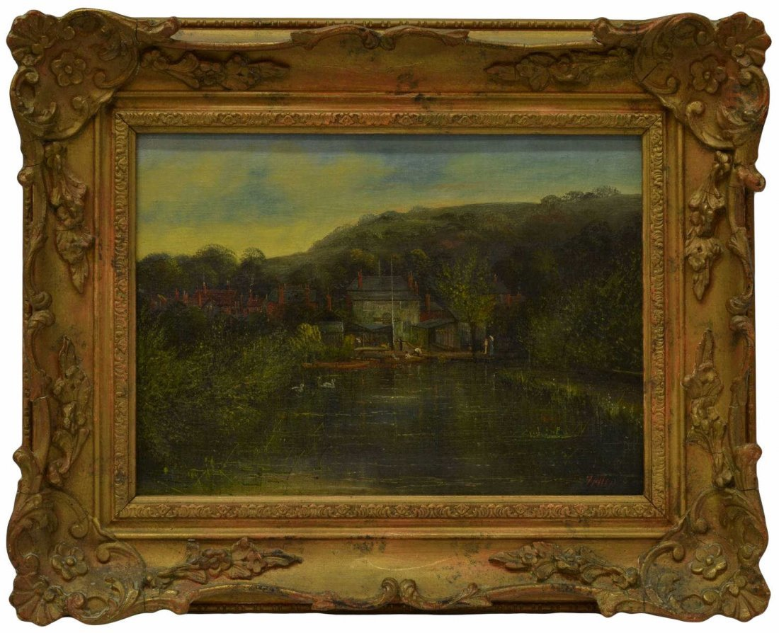 71: PAINTING, HOUSES & FIGURES ON WATERFRONT, 19TH C.