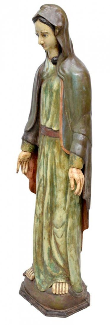 LARGE ANTIQUE COLONIAL STATUE, THE VIRGIN MARY