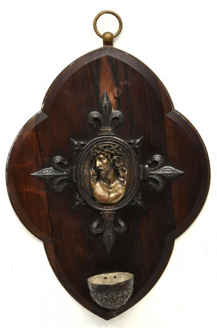 302: ANTIQUE FRENCH RELIGIOUS HOLY WATER FONT