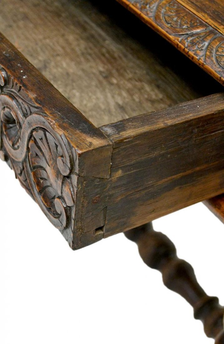 323: ANTIQUE ITALIAN RENAISSANCE CARVED WRITING TABLE - 4