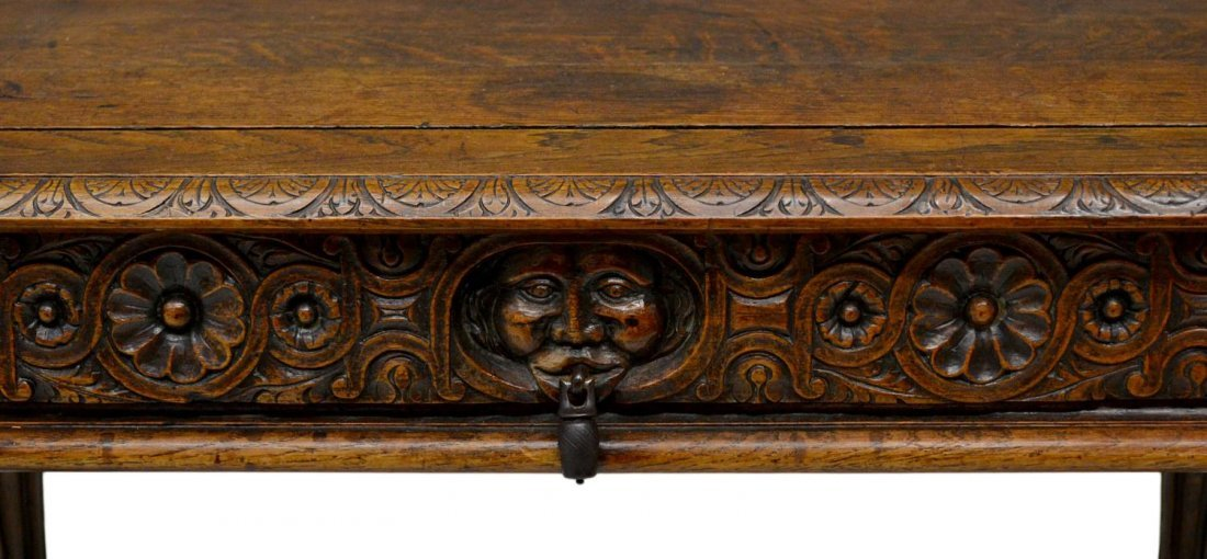 323: ANTIQUE ITALIAN RENAISSANCE CARVED WRITING TABLE - 5