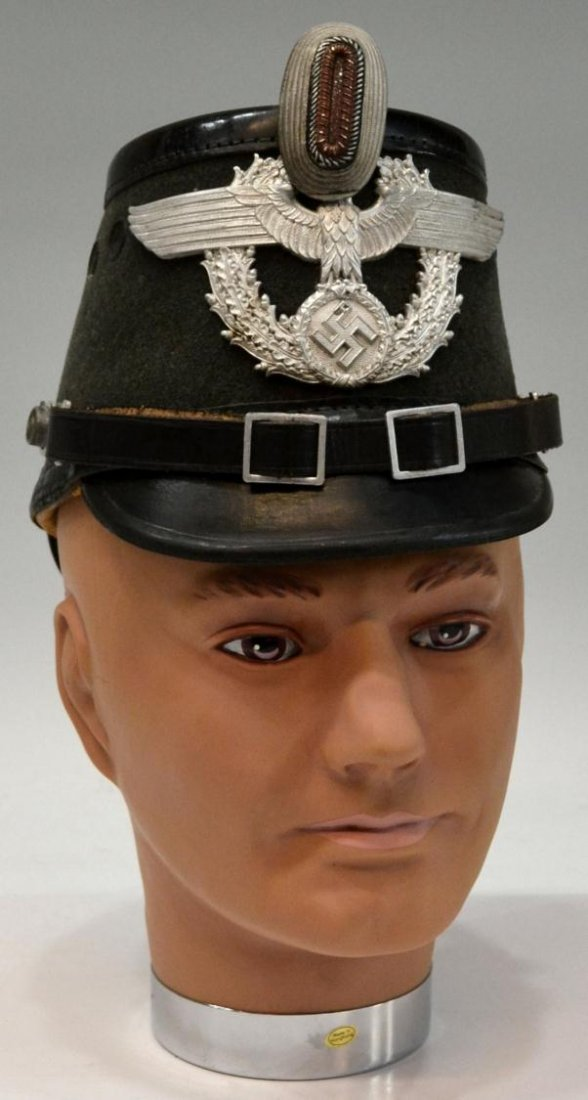391: (2) GERMAN WWII NAZI POLICE OFFICERS SHAKO HAT