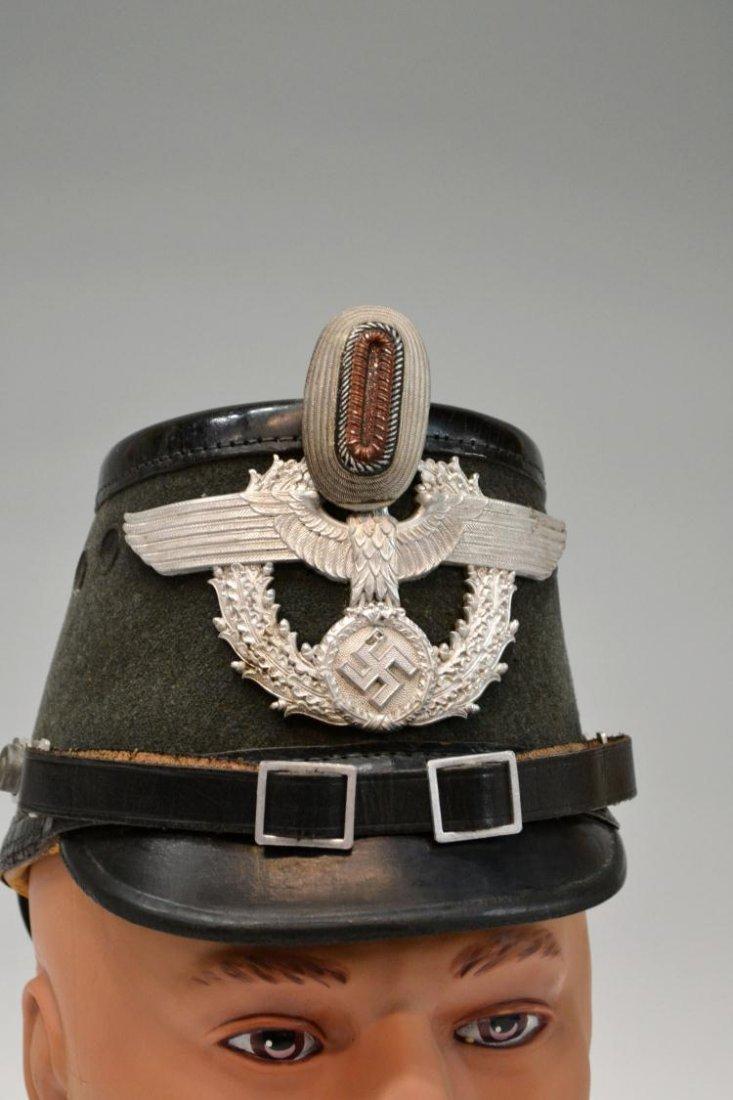 391: (2) GERMAN WWII NAZI POLICE OFFICERS SHAKO HAT - 2