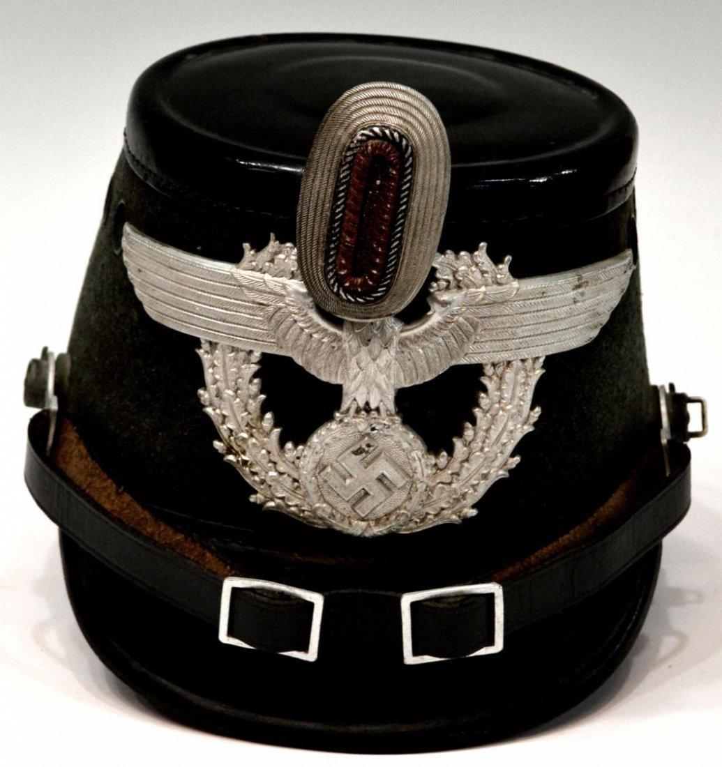 391: (2) GERMAN WWII NAZI POLICE OFFICERS SHAKO HAT - 3