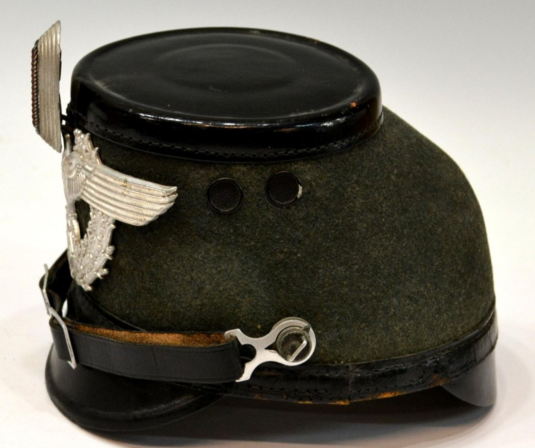 391: (2) GERMAN WWII NAZI POLICE OFFICERS SHAKO HAT - 4