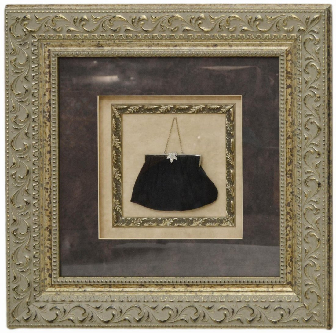 528: FRAMED SHADOW BOX, LADIES BEADED PURSE