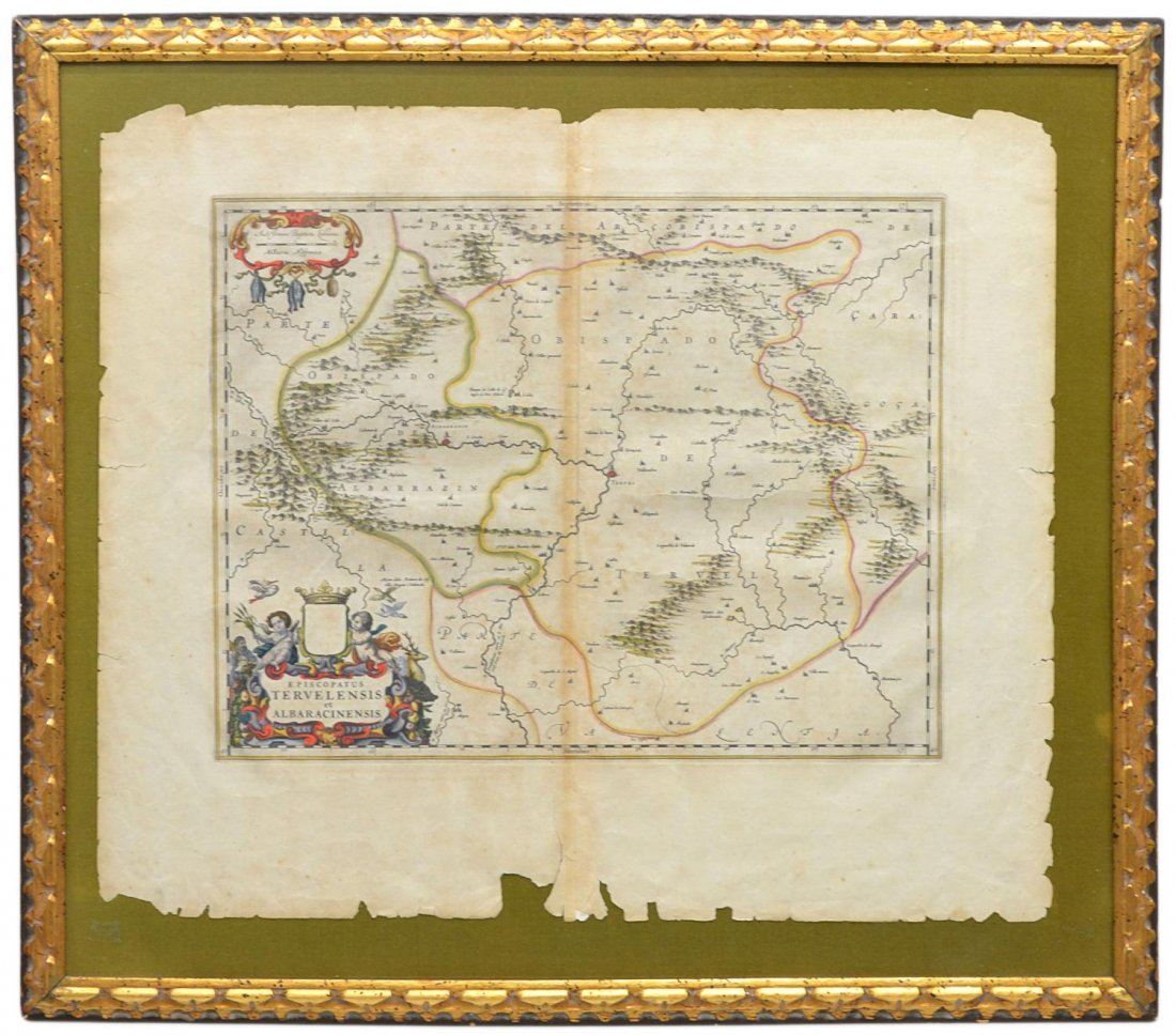 4: ANTIQUE SPANISH MAP, JOHANNES BLAEU, 17TH C.
