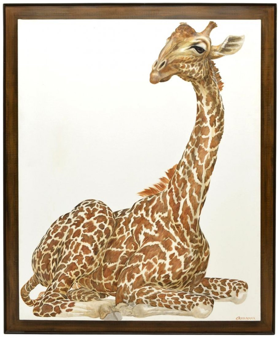 9: LARGE SIGNED PAINTING, SEATED GIRAFFE
