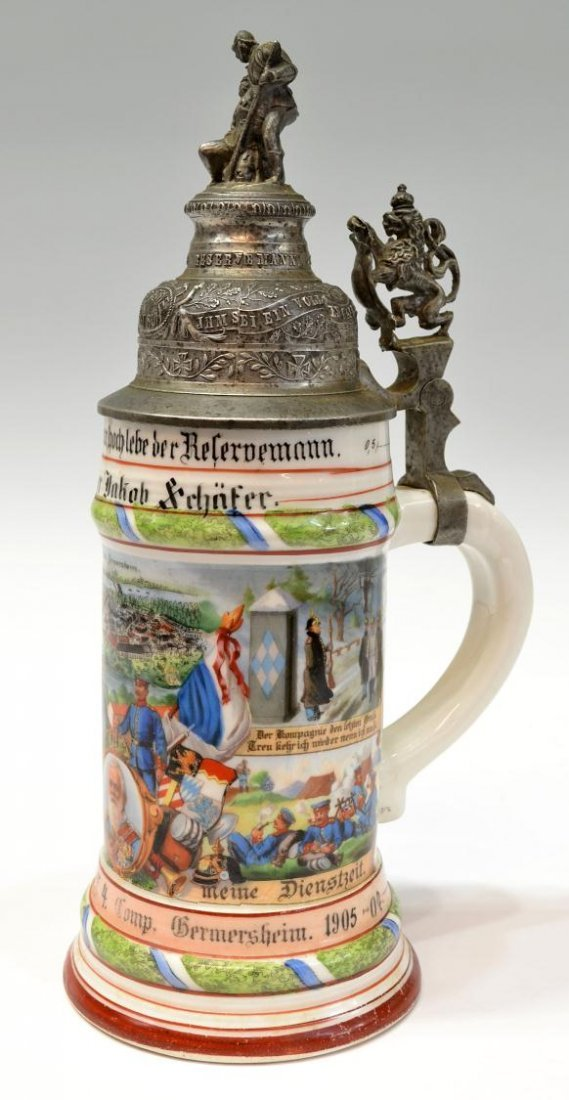 18: ANTIQUE GERMAN REGIMENTAL LITHOPHANE BEER STEIN