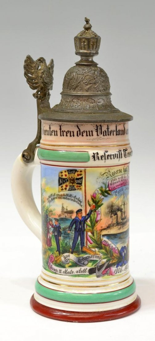 20: ANTIQUE PRUSSIAN REGIMENTAL LITHOPHANE BEER STEIN