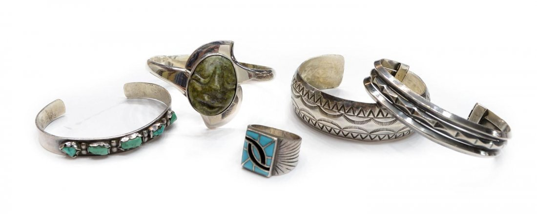 77: (5) GROUP SOUTHWEST SILVER & TURQUOISE JEWELRY