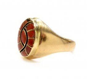 MENS ZUNI 14KT GOLD & RED CORAL RING, QUANDELACY