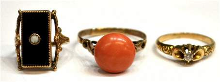 81: (3) LADIES GOLD, DIAMOND, GEMSET ESTATE RINGS