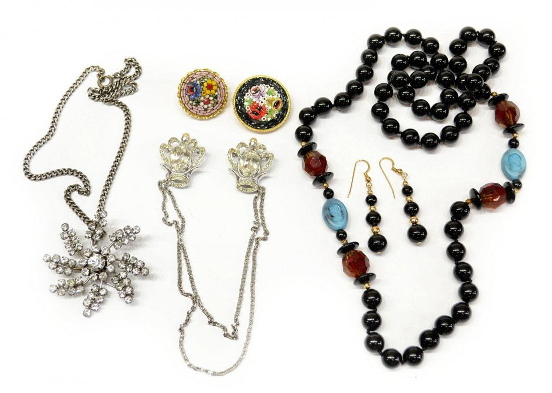 85: VINTAGE STERLING, MICRO MOSAIC, BEADED JEWELRY LOT