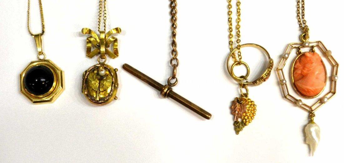 89: (5) VINTAGE GOLD & GOLD FILLED ESTATE JEWELRY LOT