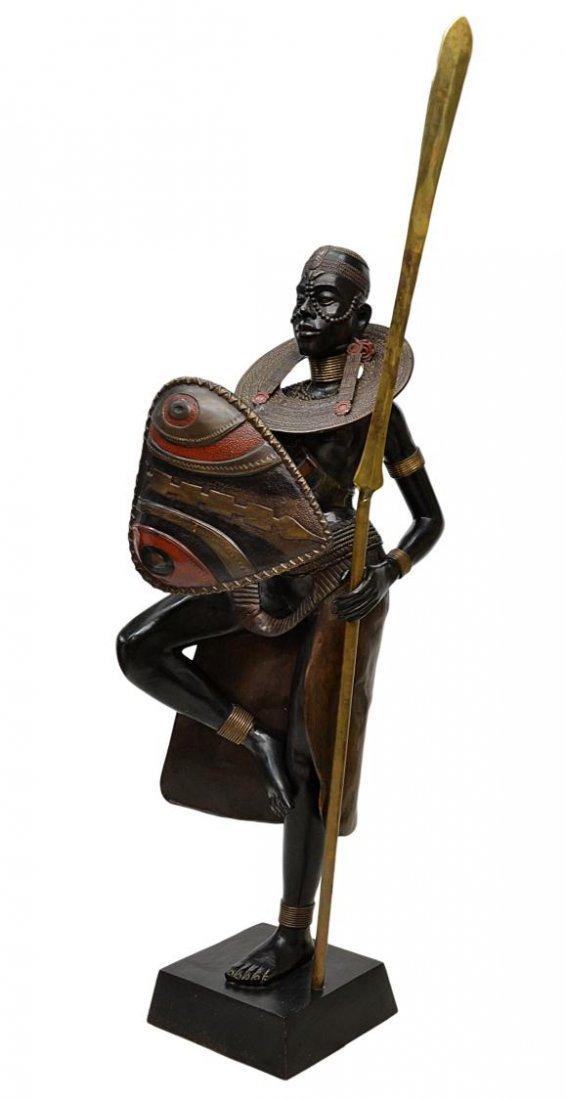 "90: BRONZE SCULPTURE, AFRICAN TRIBAL WARRIOR, 77""H"