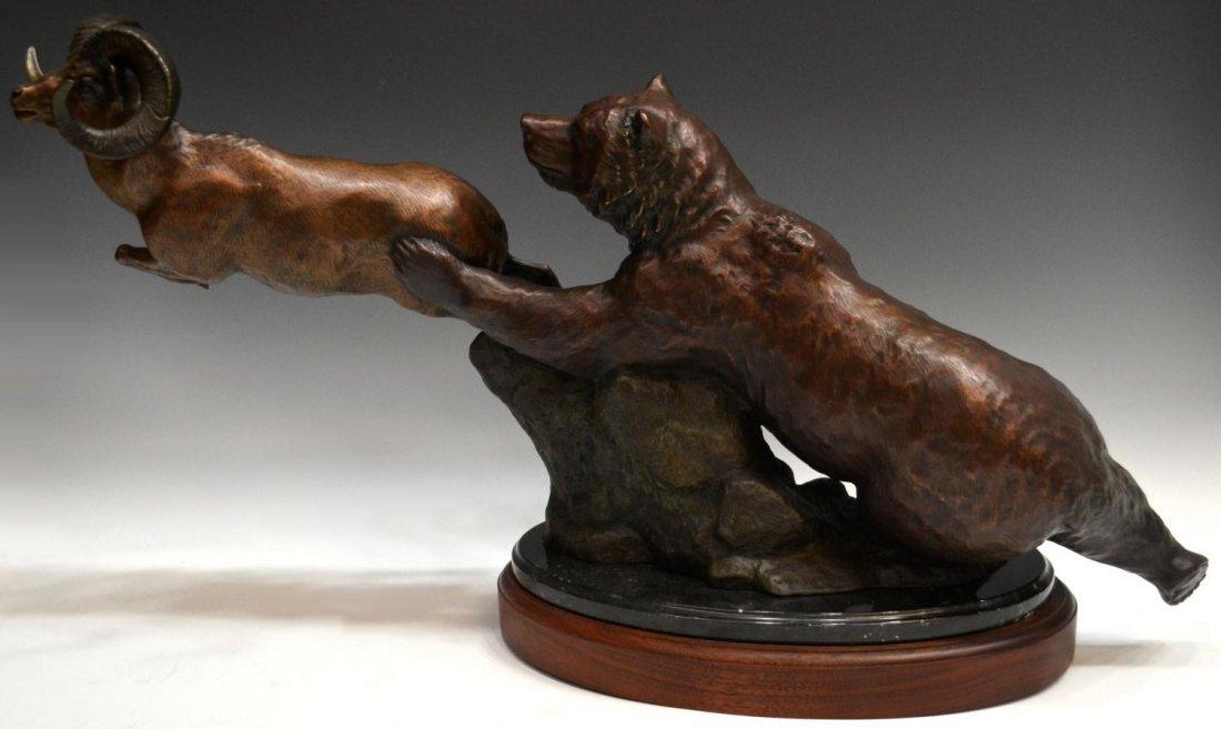 94: WILDLIFE BRONZE, BEAR & RAM, JIM GILMORE (B. 1950)