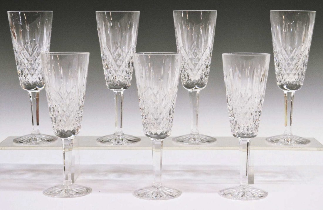 408: (7) WATERFORD CRYSTAL 'LISMORE' CHAMPAGNE FLUTES