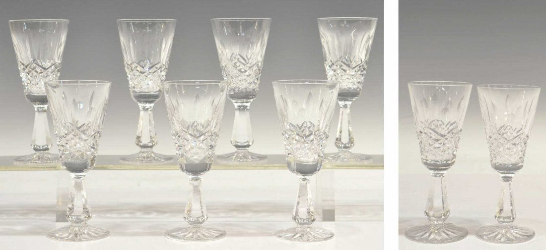 413: (9) WATERFORD CRYSTAL 'KENMARE' SHERRY GLASSES