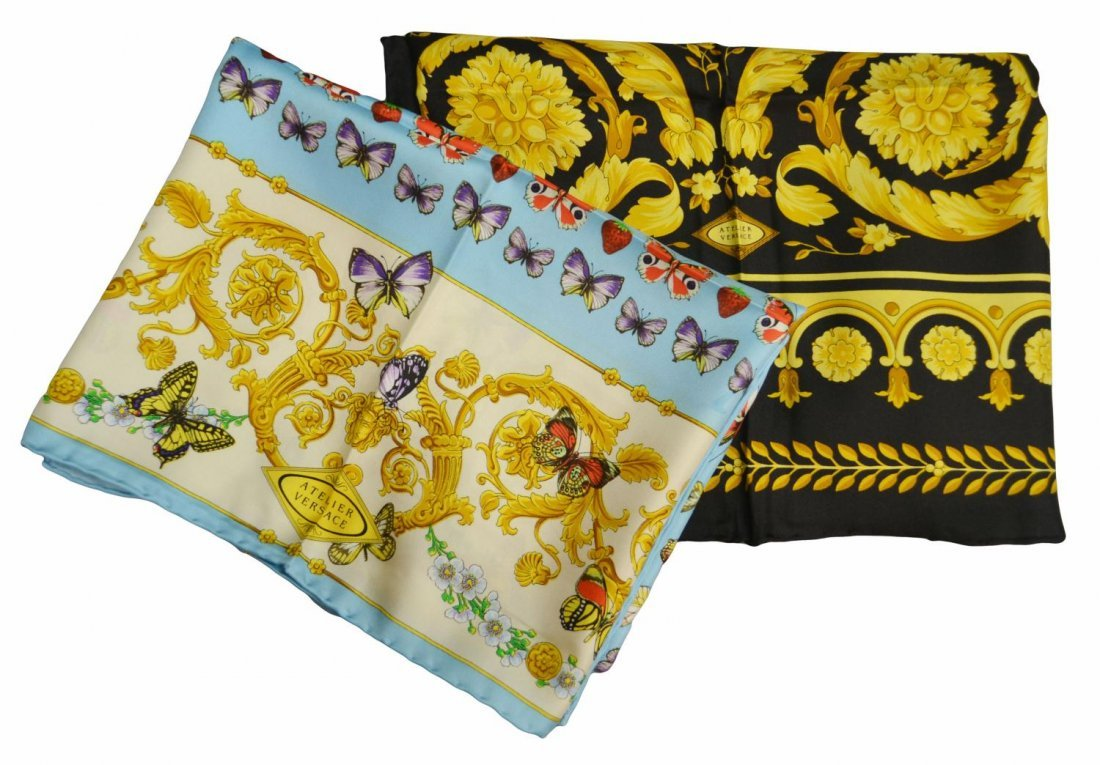 417: (2) BOXED GIANNI VERSACE SILK SCARVES