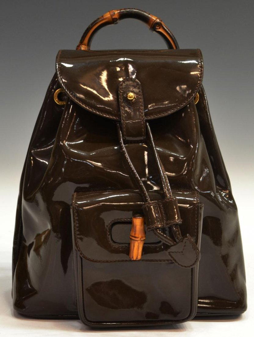 419: GUCCI BROWN PATENT LEATHER BAMBOO BACKPACK PURSE