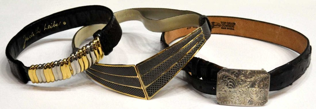 421: (3) VINTAGE JUDITH LEIBER REPTILE & OVERLAY BELTS