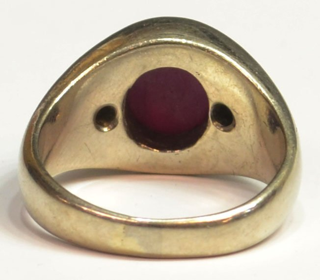 450: GENT'S 14KT GOLD DIAMOND & SYTHETIC STAR RUBY RING - 4