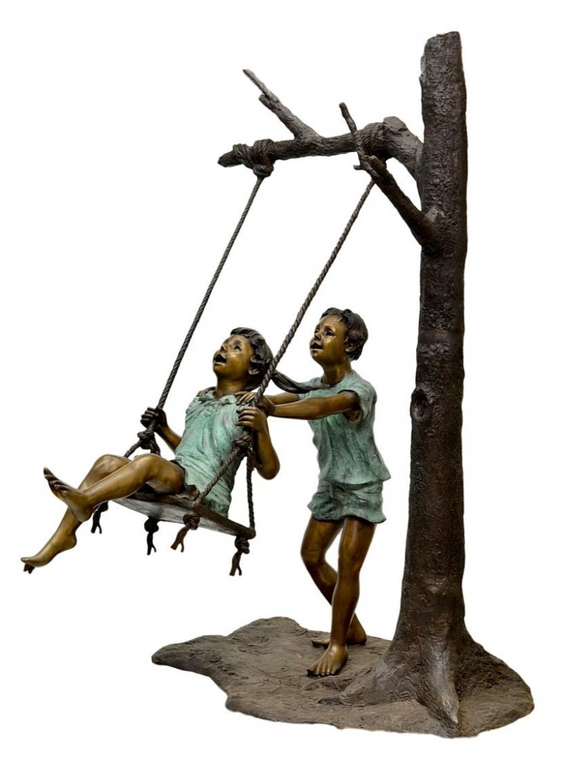 535: LIFE-SIZE POLYCHROME BRONZE KIDS & SWING SCULPTURE