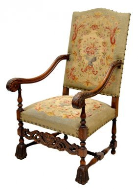 FINE FRENCH LOUIS XIV STYLE TAPESTRY ARM CHAIR
