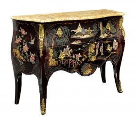 LOUIS XV STYLE MARBLE TOP CHINOISERIE COMMODE