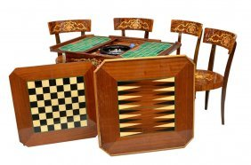 ITALIAN INLAID FITTED GAME TABLE SET, FOUR CHAIRS