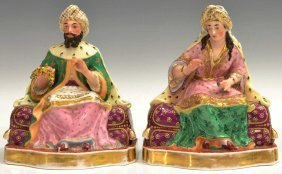 OLD PARIS PORCELAIN ORIENTALIST FIGURES / BOTTLES