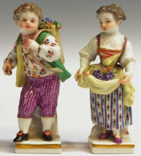 (2) MEISSEN PORCELAIN FIGURES, GRAPE BOY & GIRL