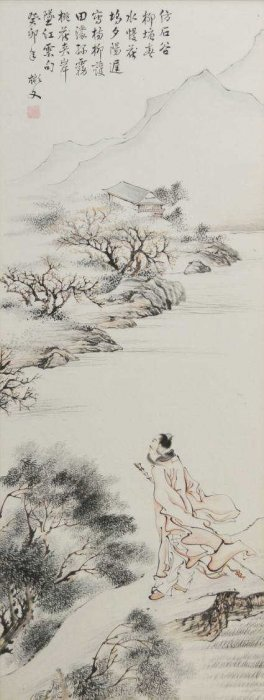 FRAMED CHINESE PAPER LANDSCAPE SCROLL, YI BINWEN