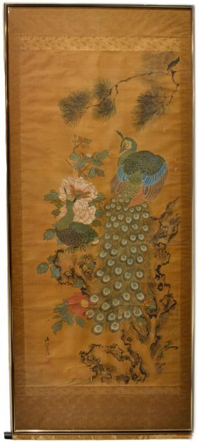 CHINESE SCROLL, , PEACOCKS, SATAKE EISHI EIKAI