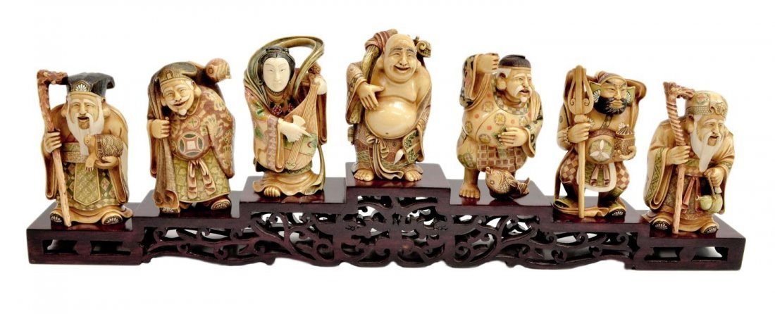 566: ASIAN IVORY CARVINGS, SEVEN GODS OF GOOD FORTUNE