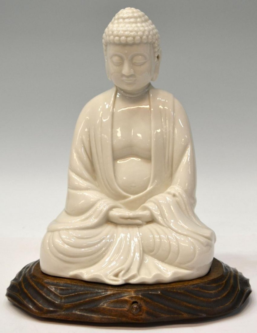575: CHINESE BLANC-DE-CHINE FIGURE, THE SEATED BUDDHA
