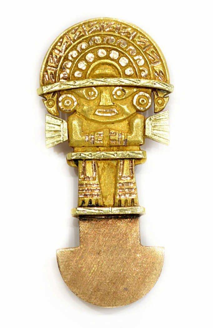 583: 18KT GOLD ESTATE PENDANT / PIN, AN INCA DEITY