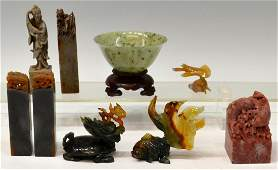 723: (9) CHINESE CARVED AGATE & STONE DRAGON FISH, CHOP