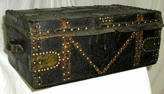 1: ANTIQUE LEATHER TRAVEL CASE TRUNK