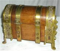2 ORNATE VICTORIAN BRASS AND WOOD CASK