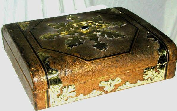 5: VINTAGE LEATHER BOX BRASS ACCENTS