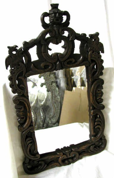 20: HAND CARVED WOOD FRAME MIRROR