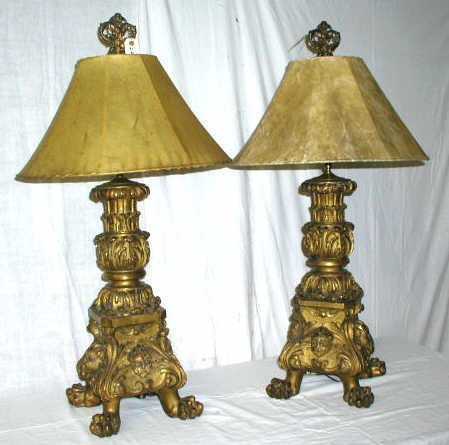 126A: PAIR ANTIQUE CARVED WOOD LAMPS CANDLEHOLDERS