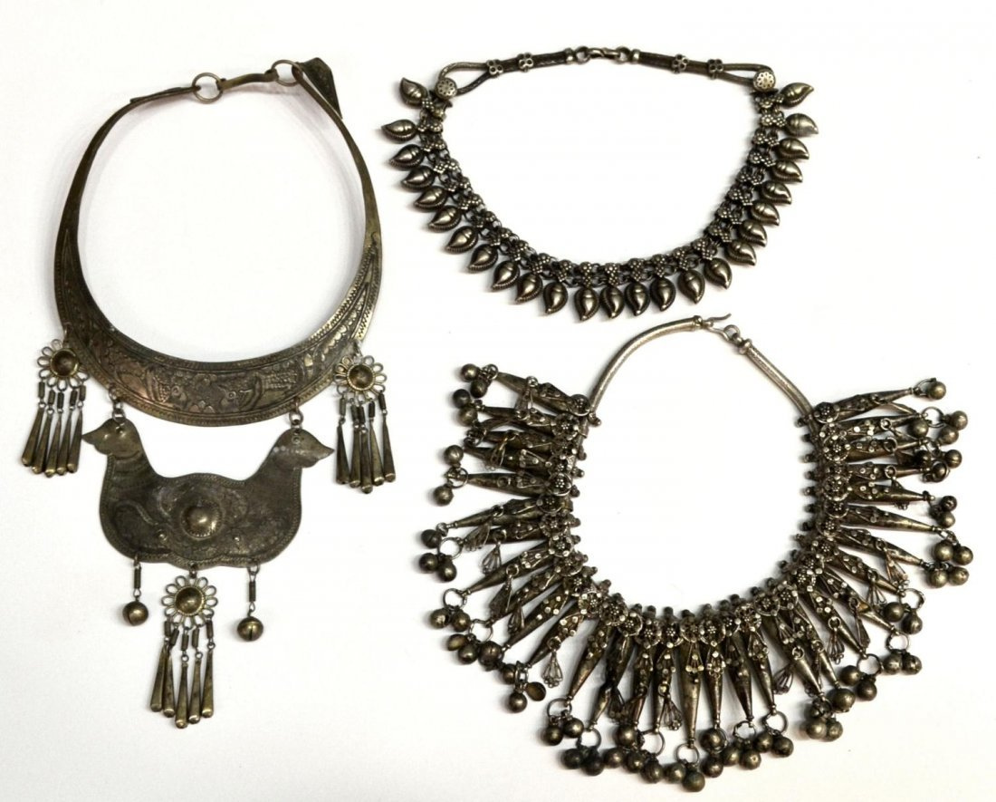 12: (3) NEPALESE SILVER TONE METAL NECKLACE GROUP