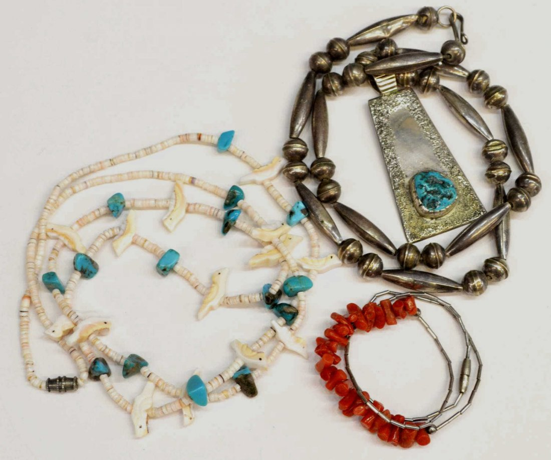 13: (3) NATIVE AMERICAN SILVER, TURQUOISE JEWELRY LOT